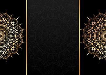 black gold mandala painting symmetrical background