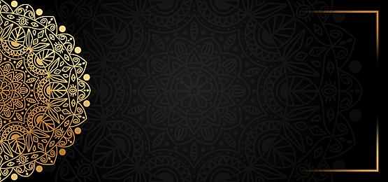 black gold mandala print background