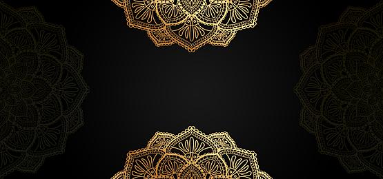 black gold mandala symmetrical pattern background