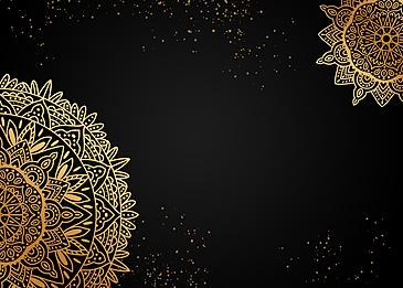 black mandala painting gold powder background