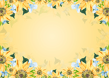blue and white small flowers yellow floral background painting