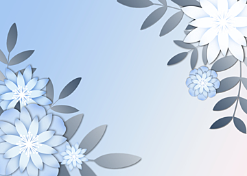blue minimalist paper cut floral background