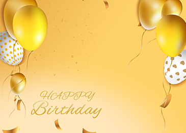 gradient yellow birthday balloon