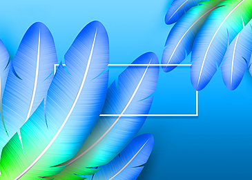 hand painted blue feather background decoration illustration