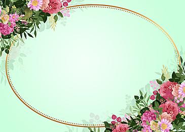 light green round floral background pattern