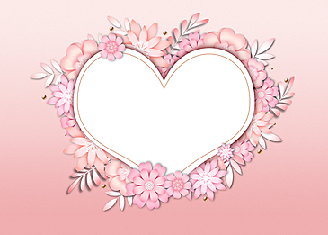 paper cut floral love background colorful