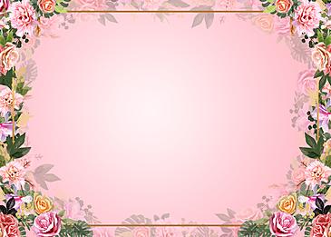 pink flowers border floral background