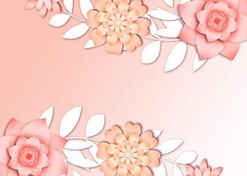 pink gradient paper cut floral background
