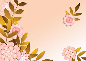 pink gradient simple paper cut floral background