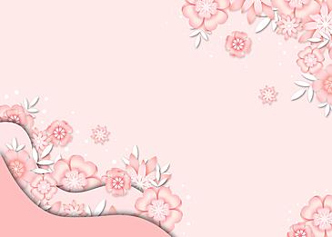 pink paper cut floral background color