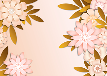 pink paper cut floral background