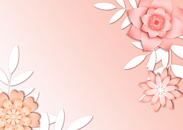 pink simple paper cut floral background