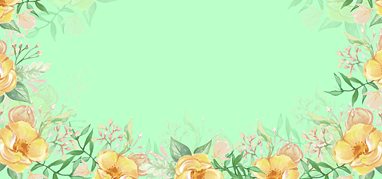 watercolor floral background with yellow flowers on green background