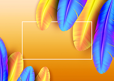 yellow blue feather background illustration