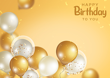 yellow gradient three dimensional birthday balloon