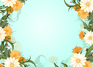 yellow white flowers watercolor floral background illustration