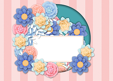 paper cut floral background colorful flowers hollow pink