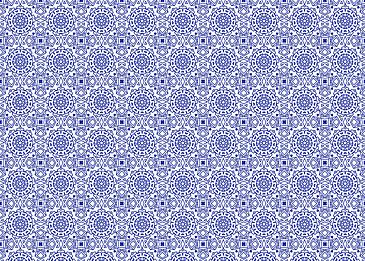 tiled blue islamic pattern on white background