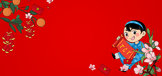 boy holding spring couplets on vietnamese new year background
