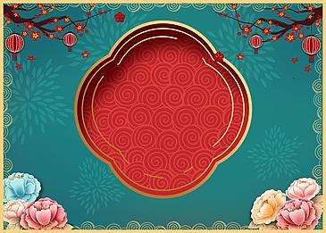 classical deep red spring festival golden stroke background