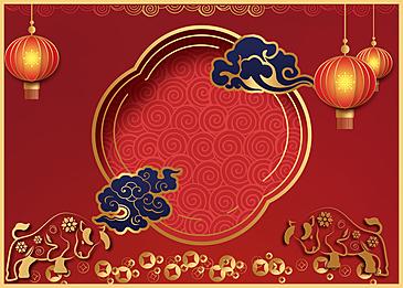 crimson chinese new year golden stroke background