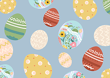 easter background with cartoon eggs