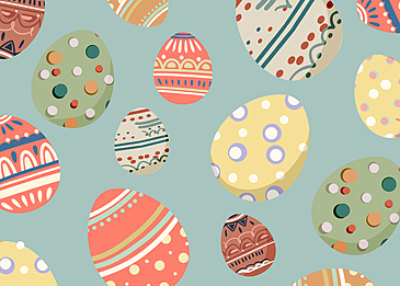 easter background with diverse eggs