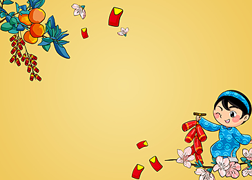 female girl holding a string of firecrackers on vietnamese new year background