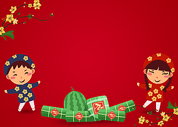 happy cartoon boy girl vietnamese new year background