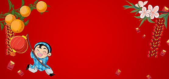 happy running boy vietnamese new year background