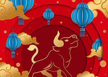 lantern new year chinese style golden stroke