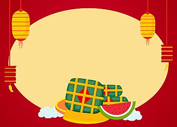 lantern rice dumplings big watermelon red background vietnam spring festival background