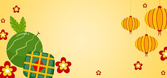 lanterns watermelon dumplings vietnamese new year background