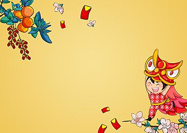 lion dance kids vietnamese spring festival background