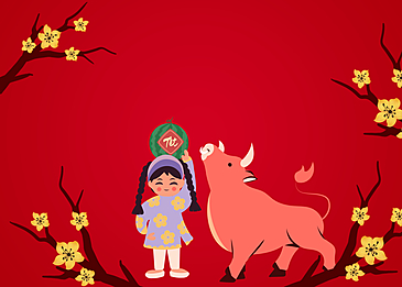 little girl and cow on vietnamese new year background