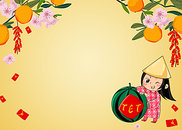 little girl with hat on vietnamese new year background