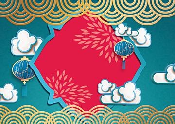 new year chinese style golden stroke lantern background