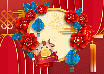 new year red chinese style golden stroke background