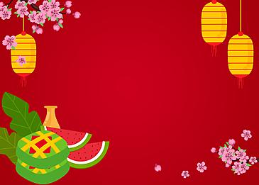 pink plum blossom yellow lanterns vietnamese new year background