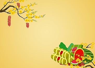 plum blossoms and harvest food vietnam spring festival background