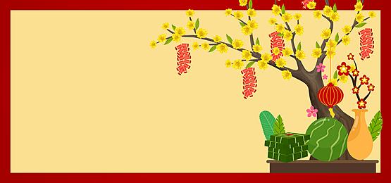 plum tree and harvest food vietnam spring festival background