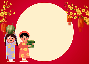 red background circular pattern vietnamese spring festival background