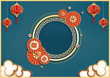 round chinese new year golden stroke background