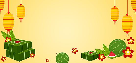 yellow lanterns watermelon and rice dumplings vietnamese new year background