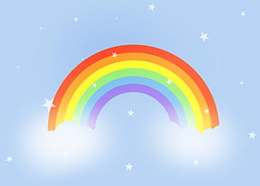 blue stars rainbow clouds background