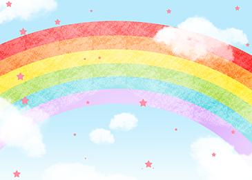 blue chalk rainbow clouds background