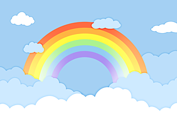 blue paper cut rainbow clouds background
