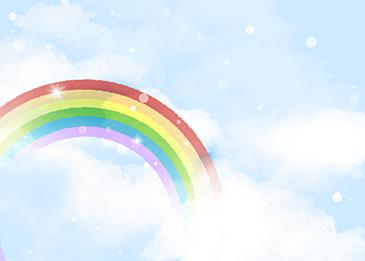 blue polka dot rainbow cloud background