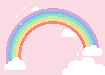 cartoon rainbow clouds background