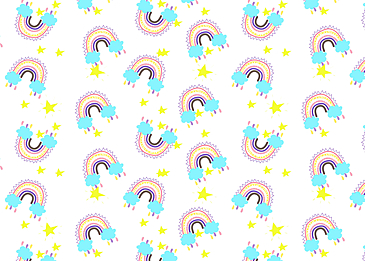 clouds raining stars rainbow continuous pattern